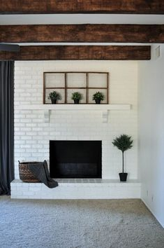 7 Astonishing Unique Ideas: Cottage Fireplace Decks fireplace and mantels spaces.Fireplace Design How To Paint fireplace with tv above rustic.Fireplace Remodel On A Budget. Painted Brick Fireplaces, Paint Fireplace, Brick Fireplace Makeover, Fireplace Design, Fireplace Ideas, Modern Fireplaces, Concrete Fireplace, White Fireplace, Brick Fireplace Remodel