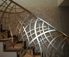 Stainless steel balustrade by Topp & Co. Staircase Railing Design, Modern Stair Railing, Steel Railing, Metal Railings, Modern Stairs, Interior Railings, Casa Magnolia, Stainless Steel Balustrade, Laser Cut Steel