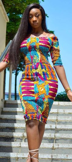 African lady looking stunning in african print dress, African fashion, Ankara, kitenge, African wome Best African Dresses, African Traditional Dresses, African Print Dresses, African Attire, African Wear, African Fashion Dresses, Fashion Outfits, African Prints, African Women