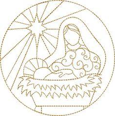 Nativity Mary & Jesus embroidery design
