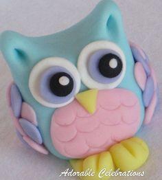 Olivia Owl Fondant Cake Topper by AdorableCelebrations on Etsythis fondant owl is soooooooooooooooooooo cute! Owl Cake Toppers, Fondant Cake Toppers, Fondant Cakes, Fondant Icing, Deco Cupcake, Cupcake Cakes, Cupcakes, Fruit Cakes, Fimo Kawaii
