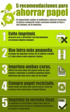 5 Recomendaciones para ahorrar papel | This can be the model, have students create their own infographics displaying info on other ways to save the planet!