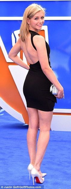 Lady in black: Countdown presenter Rachel Riley showed off her figure in a backless black mini dress and white high heels Tv Presenters, Racheal Riley, Blond, Hottest Weather Girls, Katherine Jenkins, Anna, Tv Girls, Fashion Tips For Girls, Beauty