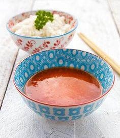 Recept voor zoetzure saus: Deze heerlijke zoetzure saus is lekker bij bv. kip, varkensvlees, scampi's, loempia, wontons...