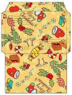 Шаблоны для распечатки: конверты .. Christmas Envelopes, Christmas Stationery, Free Printable Stationery, Printable Recipe Cards, Christmas Settings, Christmas Diy, Christmas Cards, Christmas Card Background, Mail Art Envelopes