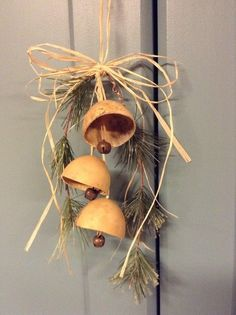 Primitive Gourd Bell Ornament Primitive Ornament by ThisOldFence Primitive Ornaments, Primitive Christmas Tree, Primitive Crafts, Country Christmas, Christmas Art, Christmas Ideas, Christmas Decorations, Country Primitive, Christmas Ornaments
