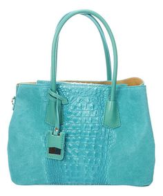 c784e70fe11c Turquoise Croc-Embossed Leather Satchel  zulilyfinds Leather Satchel