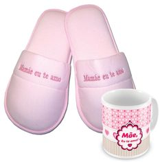 KIT Pantufa Feminina + Caneca Mamãe eu te amo > Conforto Store