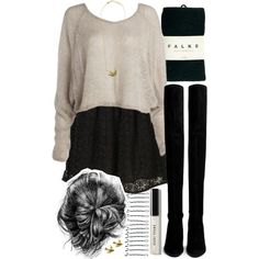 Allison Inspired Outfit with Black Tights by veterization on Polyvore featuring Topshop, Falke, Stuart Weitzman, AS29, Zara Taylor, BOBBY and Bobbi Brown Cosmetics