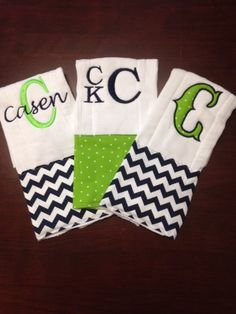 A set of personalized burp cloths make a great gift at any baby shower. These burp cloths are hand sewn with coordinating fabric for either a boy or