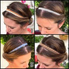 Idée cadeau : headband, bijoux de tête, accessoire cheveux, bandeau pour cheveux en dentelle et cuir headband bohème gipsy