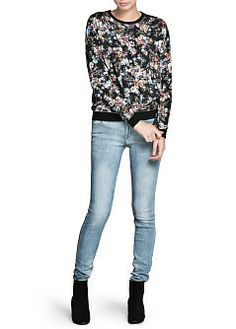 MANGO - CLOTHING - Cardigans and sweaters - 44 - Distressed floral sweatshirt