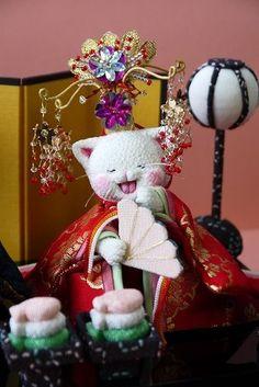 「 ねこ雛 白 」 - ちりめん猫のハンドメイド日和