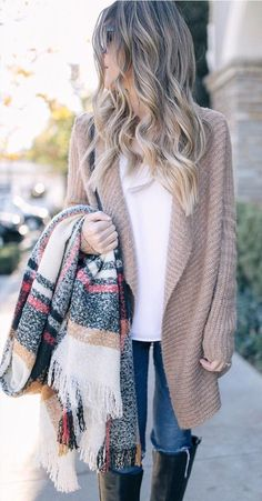#winter #outfits /  Beige Cardigan // Printed Scarf // White Top // Skinny Jeans // Black Boots