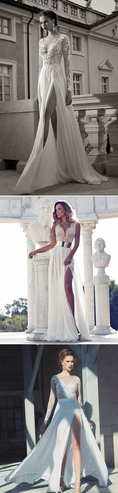 Wedding Dresses 2016 Trends: High Slit Bridal Gowns ! | http://www.deerpearlflowers.com/wedding-dresses-2016-trends-high-slit-bridal-gowns/