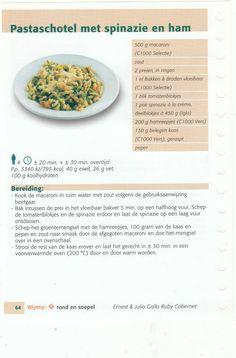 pastaschotel met spinazie en ham