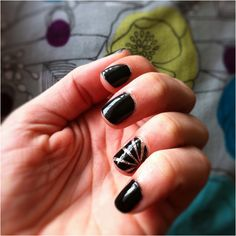 Tried the golden glitter and gloss black starburst feature nail & love it!!! Used golden shimmer base. Two coats of glitter gloss. Let feature nail dry over night. French manicure tape strips & cut them & Apply. Apply black gloss to all. Wait until completely dry to peel strips off. Ta da!!!