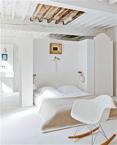 white and bleached wood bedroom