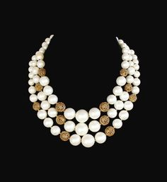 Lisner Multi Strand Faux Pearl And Filigree by HeidisTreasureChest
