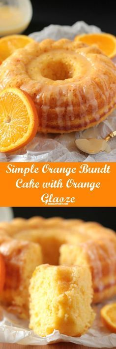 This Easy Glazed Orange Bundt Cake is full of delicious citrusy flavor of oranges, and is perfect for tea time or even breakfast. This orange bundt ca. Baking Recipes, Cake Recipes, Dessert Recipes, Orange Recipes Easy Desserts, Orange Recipes Baking, Recipes With Oranges, Soup Recipes, Bread Recipes, Bunt Cakes