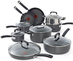 """This set includes all of the cookware needed for an adequately stocked kitchen. It includes 8-Inch fry pan, 10.25-Inch fry pan, 11.5-Inch covered fry pan, 1-Quart covered sauce pan, 2-Quart covered sauce pan, 3-Quart covered sauce pan, steamer insert, 4.5-Quart deep saute, 5-Quart covered dutch oven."""