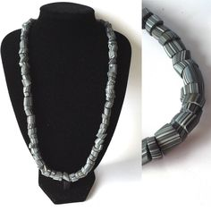 Charcoal grey edgy statement necklace. Polymer clay. Modern, big bold design.