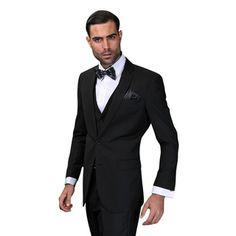 c7550a26e Lorenzo Men's Black Statement Suit | Overstock.com Shopping - The Best  Deals on Suits