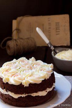 Chocolate cake with mascarpone cream frosting.