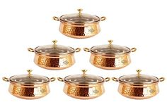 IndianArtVilla Handmade Steel Copper Casserole Dish Serving Food Daal Curry S ** Read more reviews of the product by visiting the link on the image.(This is an Amazon affiliate link and I receive a commission for the sales)