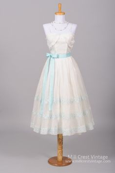 1950 Embroidered Organza Vintage Wedding Dress - Mill Crest Vintage