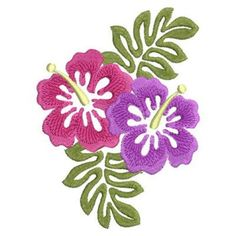 Sweet Heirloom Embroidery Design: Colorful Hibiscus 3.84 inches H x 2.82 inches W