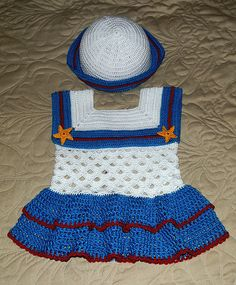 Ravelry: Baby Crochet Sailor Dress and Hat Pattern 18-24 mo pattern by Annette Sanko.