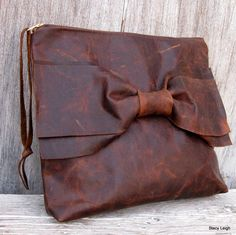 Old Attic Brown Antiqued Leather Bow Clutch Bag by by stacyleigh, $85.00