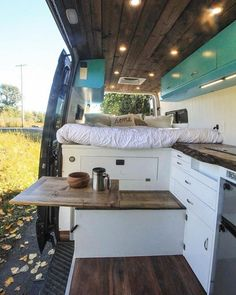 Freedom Vans on All the cozy fall vibes in The Blue Lagoon! The installed Lagun modular table is perfect for expanding some working space in the main Vw Lt Camper, Diy Camper, Camper Life, Mercedes Sprinter, Modular Table, Freedom Furniture, Caravan Renovation, Van Home, Camper Van Conversion Diy