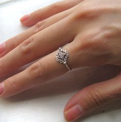 Small Sterling Silver Antique Style Pinky Ring by PaupersBounty, $15.00