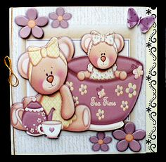 Cute Pair of Bears Having Tea Mini Kit on Craftsuprint created by Diane Hitchcox - I printed out onto 220 gram card and mounted on a 8 by 8 border punched card ,decoupaged using foam pads and attached a gold elasticated bow down spine. Punched Card, Bears, Card Making, Bow, Printed, Create, Mini, Arch, Bear