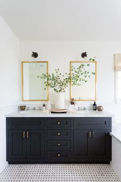 Modern Farmhouse Bathroom Finds for an Easy Update - allisa jacobs modern bathroom design with black vanity and gold mirrors Elegant White Small Bathroom Designs For Comfortable Bathin. Black Cabinets Bathroom, Black Vanity Bathroom, Small Bathroom, Master Bathroom, Bathroom Sinks, Gray Vanity, Bathroom Renovations, Bathroom Ideas, Remodel Bathroom