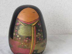 Japanese Vintage kokeshi by Toua 17cm signed Figure Prime Minister Award