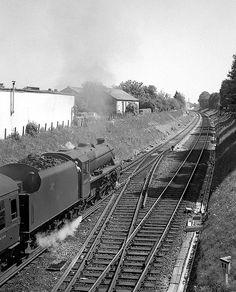 An up inter-regional leaving New Milton for Manchester. Steam Railway, British Rail, Steam Locomotive, Senior Photos, Regional, Railroad Tracks, Manchester, Trains, Random Stuff