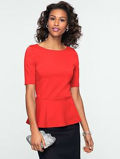 Talbots - Ponte Peplum Top | Tees and Knits | Misses