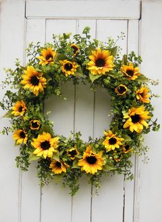 Your place to buy and sell all things handmade, Sunflower Wreath Spring Wreath Farmhouse Wreath Farmhouse Spring Door Wreaths, Summer Wreath, Holiday Wreaths, Wreath Fall, Winter Wreaths, Autumn Wreaths For Front Door, Berry Wreath, Pumpkin Wreath, Wreath Crafts