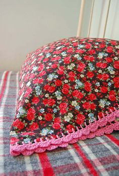 beautiful pillowcase with crochet trim ~