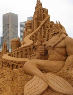 We have the Little Mermaid sand sculptures. Description from all4humor.com. I searched for this on bing.com/images