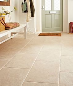 Devon Bone from Topps Tiles - potential for the dining room floor Nice front door for light and flooring Hall Tiles, Tiled Hallway, Room Tiles, Kitchen Tiles, Kitchen Flooring, Tile Entryway, Entryway Flooring, Farmhouse Flooring, Concrete Kitchen