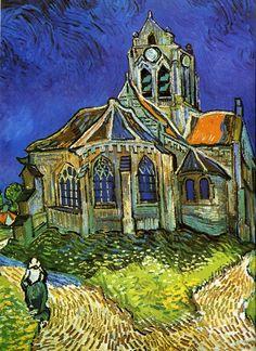 """Vincent van Gogh's 'De kerk van Auvers """"(1890) Musee d'Orsay, Parijs - 74 x 94 cm - olieverf op doek✔️"""