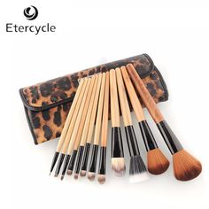 New 12PCS Professional Makeup Brush Set Cosmetic Brush Eyebrow Pencil Lip Liner Leopard With Holder Bag #Affiliate