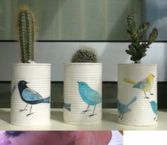 Christine Davies upcycled some old cans into plant pots. We loved the renovation idea - modern vintage.