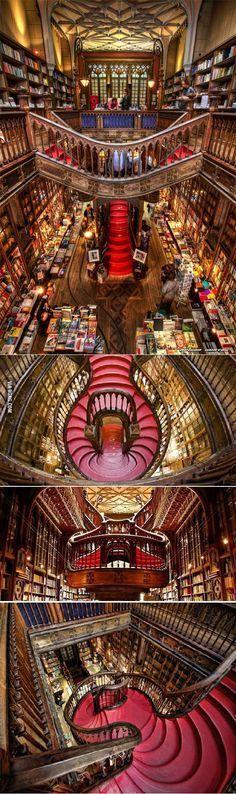 """Librería Lello! Oporto, Portugal. de Portugal """"Librería Lello e Irmão"""" es posiblemente el más hermoso de la librería en el mundo"""
