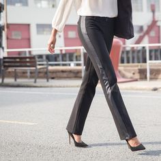 Our world-famous Dress Pant Yoga Pants, now with a subtle tuxedo touch. The ultimate blend of workwear style and comfort. Dress Yoga Pants, Black Dress Pants, Women's Pants, Workwear Fashion, Yoga Fashion, Betabrand, Pants For Women, Clothes For Women, Work Clothes