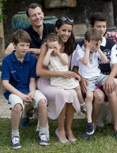 Denmark's Prince Joachim and his wife Princess Marie with their children (L-R)  Prince Felix, Princess Athena, Prince Henrik and Prince Nikolai during a Photocall at Chateau de Cayx, 11.06.2014 in Luzech, France.